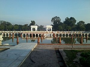 Shalimar Gardens, Lahore - The middle level terrace of the garden, known as the Faiz Bakhsh terrace