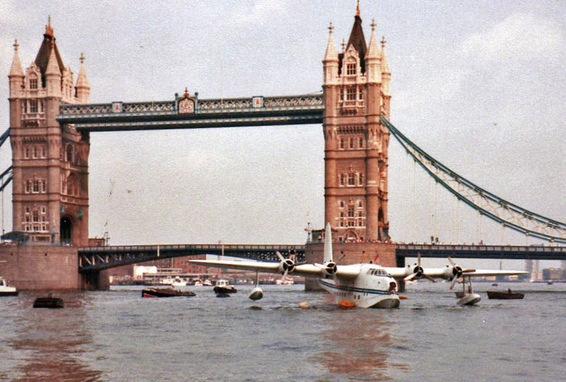 Tower Bridge with Shorts Sunderland moored close by