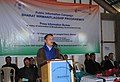 Shri Thangchem Zathang, Project Director DRDA, Lawngtlai Distt., addressing at the Bharat Nirman Public Information Campaign, at Siachangkawn village, in Lawngtlai Distt., Mizoram on February 09, 2012.jpg