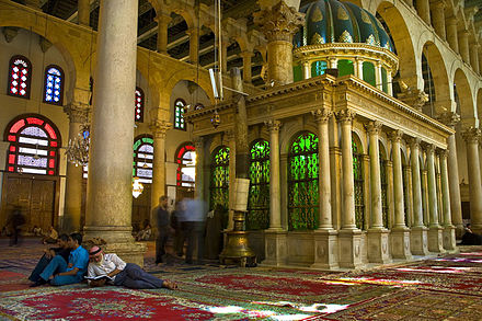 Shrine of John the Baptist in the Umayyad Mosque. Shrine of John the Baptist, Great Umayyid Mosque, Damascus.jpg