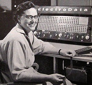 ElectroData Corporation - Sibyl Rock at the console of a ElectroData Datatron computer in 1955