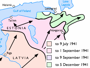 German occupation of Estonia during World War II - German advance in Latvia, Estonia and on the Leningrad front from June to December 1941