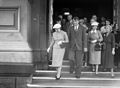 Sir Edmund and Lady Louise Hillary leaving the Wellington Town Hall, 1956.jpg