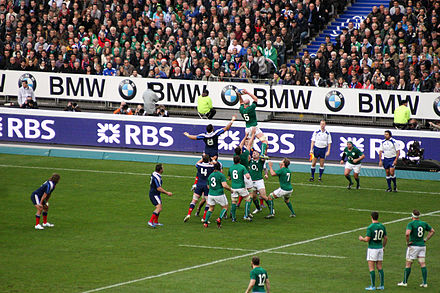 O'Connell contesting a line-out against France during the 2014 Six Nations Championship. Six nations 2014 France vs Ireland 16.JPG