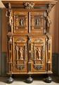 Skåp av ek i två våningar med två dörrar i varje - Skoklosters slott - 92476.tif