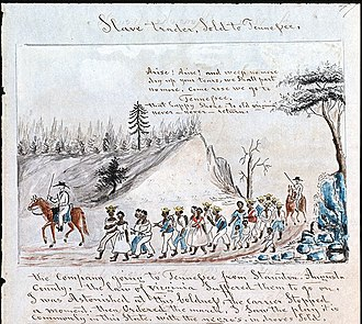 A coffle of slaves being driven on foot from Staunton, Virginia to Tennessee in 1850. Slave Trader, Sold to Tennessee.jpg