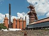 Sloss Furnaces, Birmingham AL, Cowper Stoves and Blast Furnace, West view 20160714 1.jpg