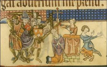 The assassination of Archbishop Thomas Becket, depiction from the Luttrell Psalter, around 1345