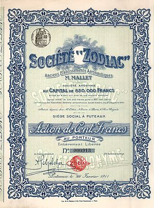 Maurice Mallet - share of the Societe Zodiac from the 26. January 1911