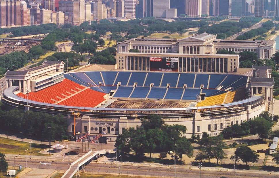 Soldier Field Chicago aerial view crop