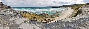 South Coast Tasmania - South Cape Bay, Tasmania, South Cape on the right.