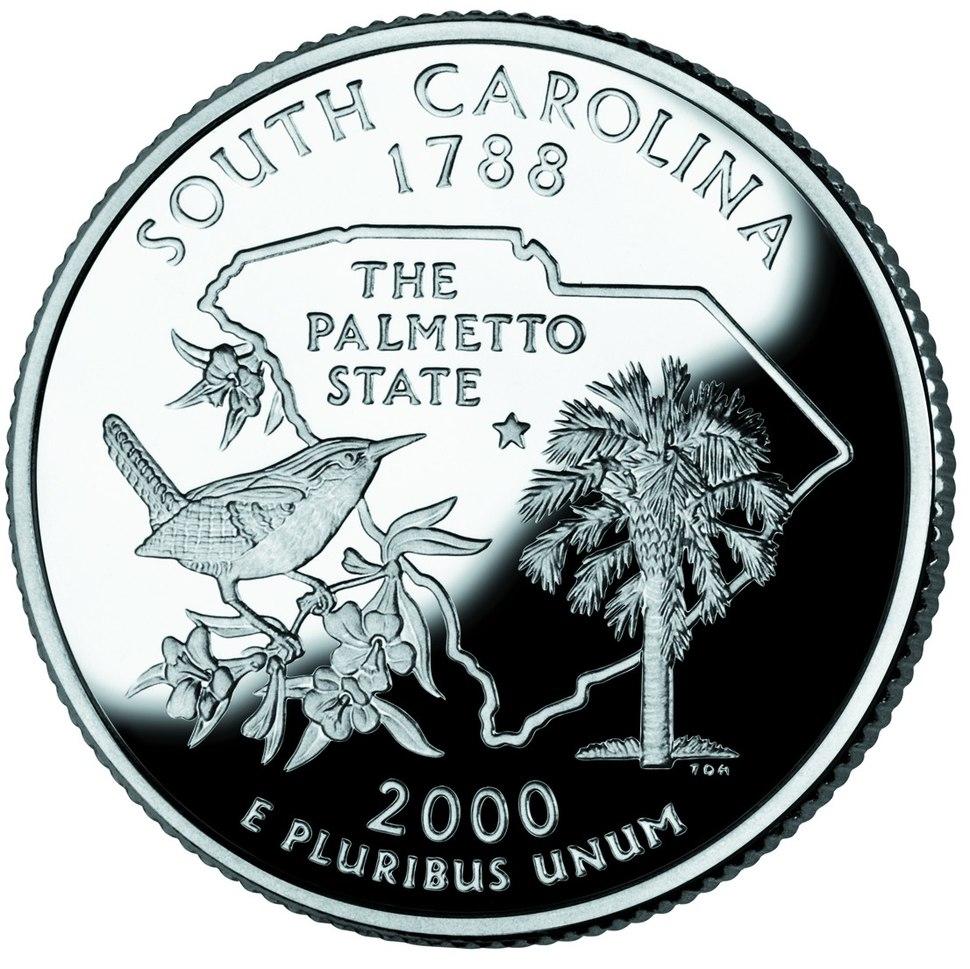South Carolina quarter dollar coin