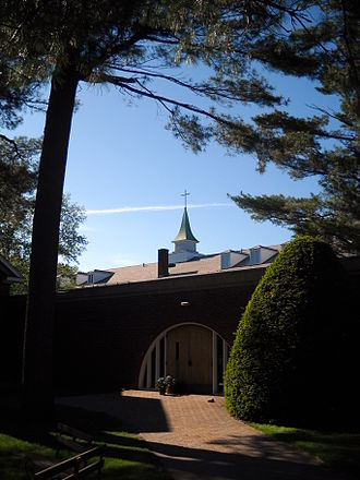 Saint Anselm Abbey (New Hampshire) - South Entrance into the abbey's cloister garden