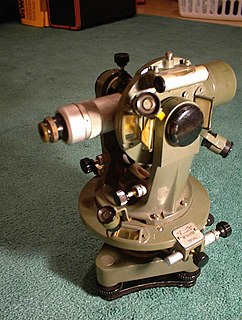 Theodolite surveying instrument that measures azimuth and elevation between points