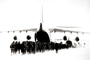 "Russian Airborne Troops - An Ilyushin Il-76 ""Candid"" loading VDV personnel in 1984."