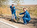 Soyuz MS-10 crew during the tree planting ceremony.jpg