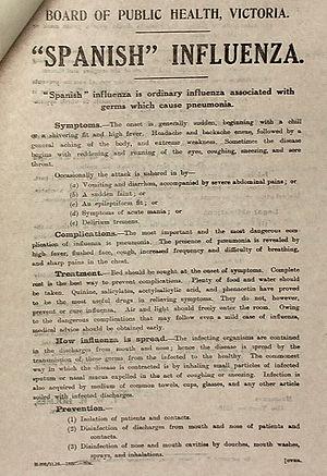 Fairfield Infectious Diseases Hospital - Victorian Spanish Influenza precautions leaflet