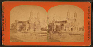 St. Mary Cathedral Basilica (Galveston, Texas) - Stereoscopic view of the Cathedral, circa 1865.