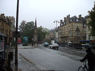 St Giles', Oxford - Southern end of St Giles' Street outside the west entrance to Balliol College.