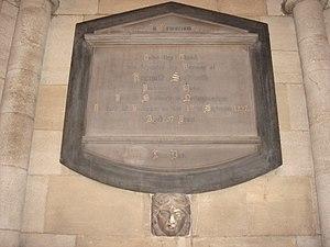 Reginald Spofforth - Memorial in St Mary Abbots, Kensington