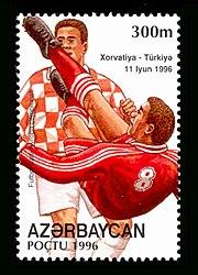 f76b3685be9 Turkey national football team on an Azerbaijan stamp for Euro 1996.