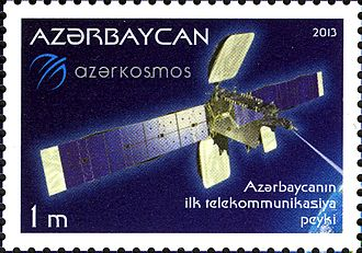 Azercosmos - Azerspace-1 on the stamp of Azerbaijan, 2013