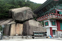 Standing Buddha Carved on the Rock in Samcheonsa temple site, Seoul 03.JPG