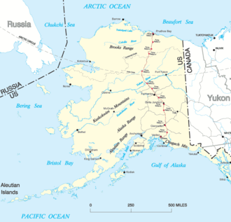 Prudhoe Bay, Alaska - Map of Alaska, showing place names and the Trans-Alaska pipeline route in red.