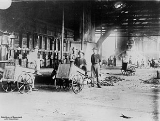 Chillagoe smelters - Inside the Chillagoe Smelting Works, circa 1920