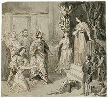 Dans une salle, plusieurs personnes émerveillées observent une femme debout sur un socle de pierre, à droite. Sur la gauche, une autre femme s'agenouille et tend les bras vers la première femme.