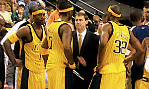 Stephen Jackson - Jackson (left) with Pacers teammates Jermaine O'Neal and Dale Davis and coach Rick Carlisle