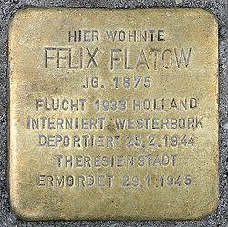 Photo of Felix Flatow brass plaque