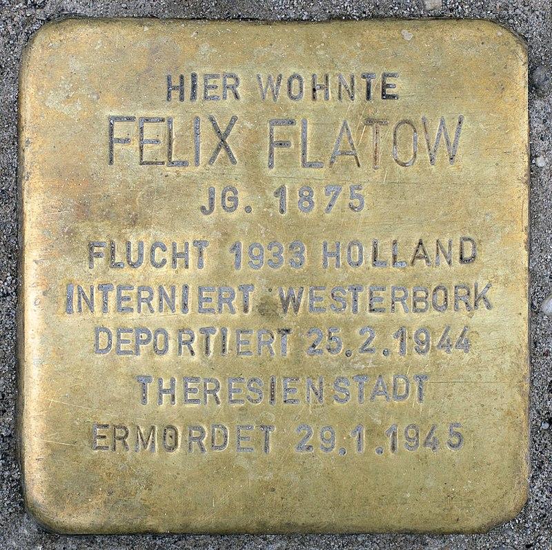 Stolperstein Schlüterstr 49 (Charl) Felix Flatow.jpg