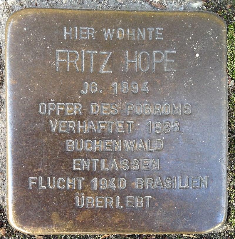 Stolperstein Verl Hauptstraße 33 Fritz Hope