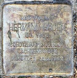 Photo of Hermann Hagen brass plaque