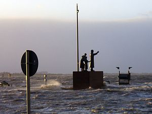Cyclone Xaver - Bremerhaven flooded by the waters of Weser River