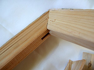 Stretcher bar - Interior angle of a completed stretcher bar corner showing the slot designed to fit a Corner key.