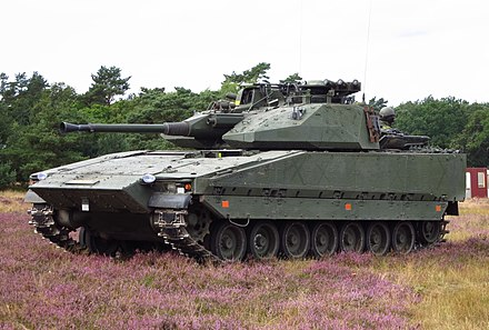 The Infantry fighting vehicle CV90, which is produced and used by Sweden Stridsfordon 90 Revinge 2012-2.jpg