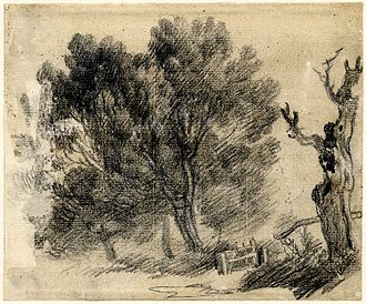 Sketch (drawing) - Charcoal sketch of willows by Thomas Gainsborough
