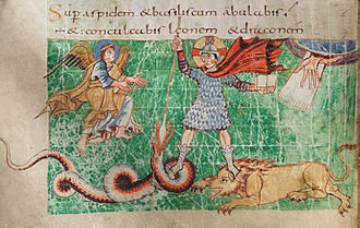 Germanic Christianity - 9th-century depiction of Christ as a heroic warrior (Stuttgart Psalter, fol. 23, illustration of Psalm 91:13)
