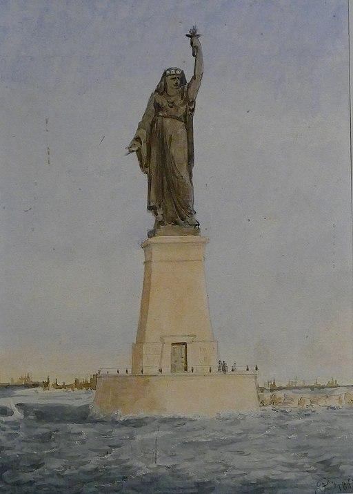 Projet par Auguste Bartholdi d'une statue monumentale à l'entrée du port de Suez. Aquarelle, 1869,  Musée Bartholdi de Colmar