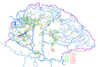 Magyar tribes - The appearance of Hungarian tribe names in settlement names. It suggests where arriving Hungarians lived amongst other peoples and helped in reconstructing where arriving tribes settled