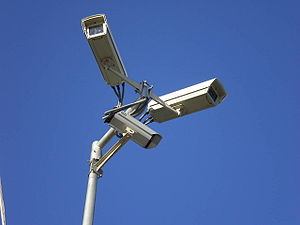 English: Surveillance video cameras above mari...