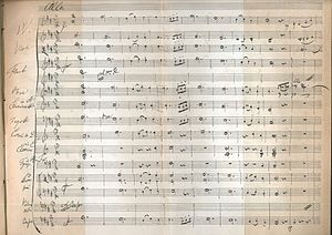 Symphony No. 8 (Schubert) - Schubert, Symphony No. 8, third movement, first page, facsimile, 1885, in J. R. von Herbeck's biography
