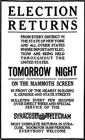 Syracuse Telegram - Syracuse Telegram, Election Returns on the mammoth screen, November 6, 1922