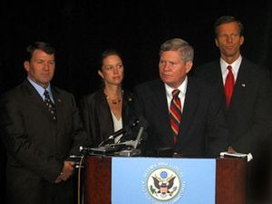 Tim Johnson (South Dakota politician) - Sen. Johnson (second from right) answers questions after he helped prevent the closure of Ellsworth Air Force Base in South Dakota. Left to right: Governor M. Michael Rounds, U.S. Rep. Stephanie Herseth, Johnson and U.S. Senator John Thune.