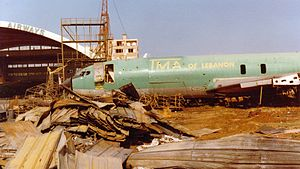 TMA Cargo - A damaged TMA aircraft at Beirut Airport in 1982 during the Lebanese Civil War