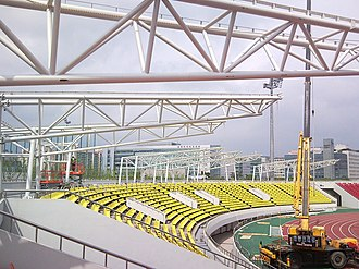 Tancheon Sports Complex - Tancheon Stadium under canopy installation in 2009
