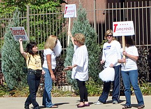Tom Tancredo - Supporters of Tancredo's gubernatorial bid holding a demonstration in October 2010