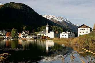 Canton of Grisons - View of Tarasp Lake in lower Engadin
